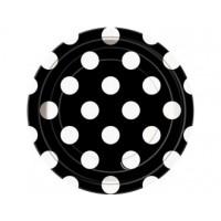 Midnight Black. Dots 7'' Plates 8 CT.
