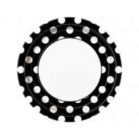 Midnight Black. Dots 9'' Plates 8 CT.
