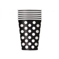 Midnight Black. Dots 12oz Cups 6 CT.