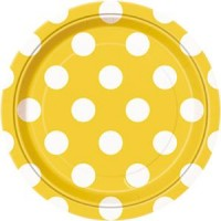 Sunflower Yellow. Dots 7'' Plates 8 CT.