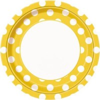 Sunflower Yellow. Dots 9'' Plates 8 CT.