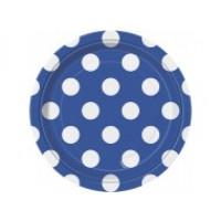 Royal Blue. Dots 7'' Plates 8 CT.