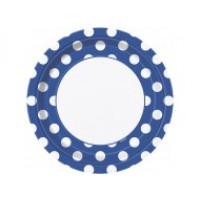 Royal Blue. Dots 9''Plates 8 CT.