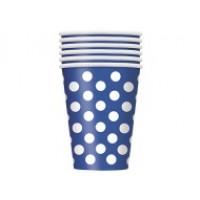 Royal Blue. Dots 12 OZ Cups 6CT.
