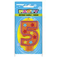 5 Decorative Birthday Numeral Candle (Printed One Side) Pack of 6