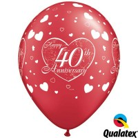"""40th Anniversary Little Hearts 11"""" Pearl Ruby Red (25CT)"""