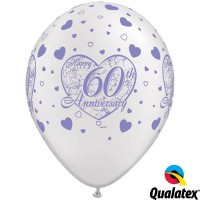 """60th Anniversary Little Hearts 11"""" Pearl White W/Lavender Ink (25CT)"""