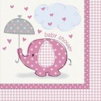 Luncheon Napkins - Umbrellaphants Pink - Baby Shower 16CT.