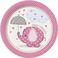 "7"" Plates - Umbrellaphants Pink - Baby Shower 8CT."