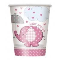 9oz. Cups - Umbrellaphants Pink - Baby Shower 8CT.