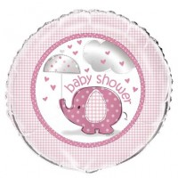 "18"" Foil Balloon Packaged - Umbrellaphants Pink - Baby Shower"