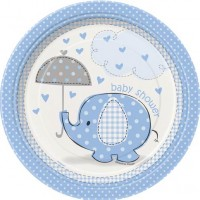 "7"" Plates - Umbrellaphants Blue - Baby Shower 8CT."