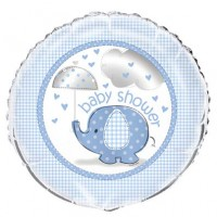 "18"" Foil Balloon Packaged - Umbrellaphants Blue - Baby Shower"