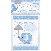 Invitations - Umbrellaphants Blue - Baby Shower 8CT.