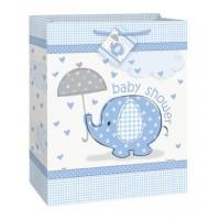 "Large Gift Bag 12.5""H. x 10.5""W. - Umbrellaphants Blue - Baby Shower"