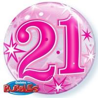 "21 Pink Starburst Sparkle 22"" Single Bubble"