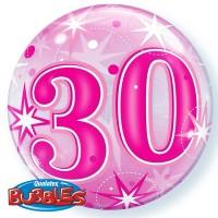 "30 Pink Starburst Sparkle 22"" Single Bubble"