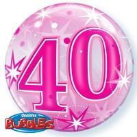 "40 Pink Starburst Sparkle 22"" Single Bubble"
