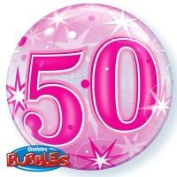 "50 Pink Starburst Sparkle 22"" Single Bubble"