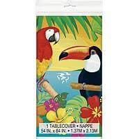 "Plastic Tablecover 54"" x 84"" - Tropical Island Luau - 1ct. 12pk."