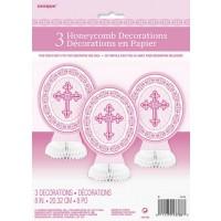 Pink Radiant Cross Mini Honeycomb Centrepieces 3ct