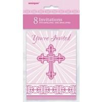 Pink Radiant Cross Invitations 8ct