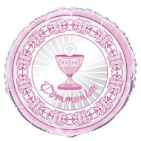 Communion Pink Radiant Cross Foil Balloon Packaged