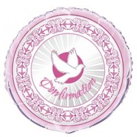 Confirmation Pink Radiant Cross Foil Balloon Packaged