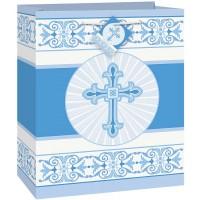 "Blue Radiant Cross Medium Gift Bag 9""H x 7""W"