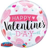 "Arrows & Hearts Valentines 22"" Single Bubble"