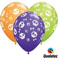 "Fun Skulls & Eyeballs 11"" Orange, Purple Violet & Lime 25CT."