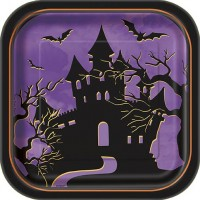 """7"""" Square Plates - Halloween Haunted House 10CT."""