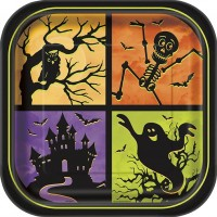 """9"""" Square Plates - Halloween Haunted House 8CT."""