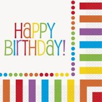 Rainbow Birthday Luncheon Napkin ''Happy Birthday'' 16CT
