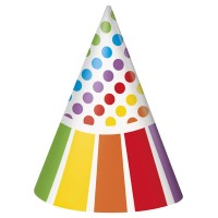 Rainbow Birthday Party Hats 8CT
