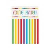 Rainbow Birthday Invitations 8CT
