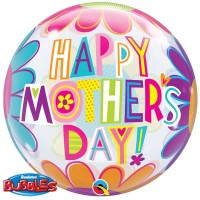 """Big Flowers Mother's Day 22"""" Single Bubble"""