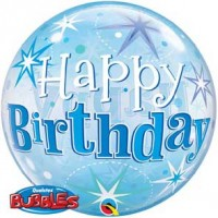 "Birthday Blue Starburst Sparkle 22"" Single Bubble"