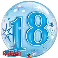 """18 Blue Starburst Sparkle 22"""" Single Bubble"""