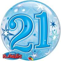 """21 Blue Starburst Sparkle 22"""" Single Bubble"""
