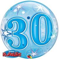 """30 Blue Starburst Sparkle 22"""" Single Bubble"""