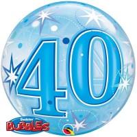 """40 Blue Starburst Sparkle 22"""" Single Bubble"""