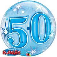 """50 Blue Starburst Sparkle 22"""" Single Bubble"""