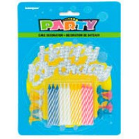 HAPPY BIRTHDAY SILVER CAKE TOPPER WITH 12 CANDLES & HOLDERS - Pack of 12