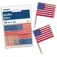 American Flag Picks 30ct