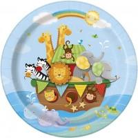 "9"" Plates - Noha's Ark - Baby Shower 8 Ct. 12 Pk"