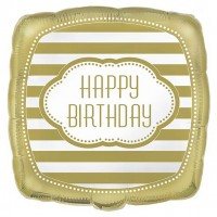 "18"" Foil Square Balloon Packaged - Golden Birthday"