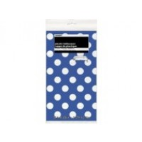 "Royal Blue. Dots Plastic Tablecover 54"" x 108"""