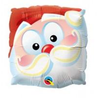 """Santa Fun Face 9"""" Air Inflation Foil Balloon - Flat"""