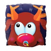 """Rudolph Fun Face 9"""" Air Inflation Foil Balloon - Flat"""